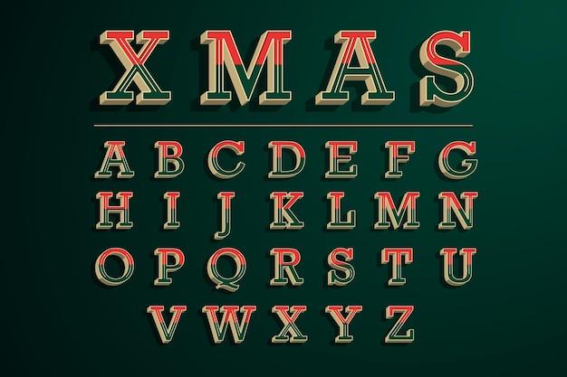 Pack d'alphabet de noël vintage