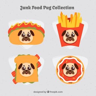 Un pack amusant de fast food avec des pugs