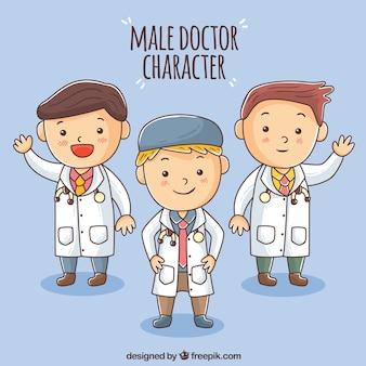Un pack amusant de médecins de style enfantin