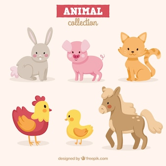 Pack d'animaux amusants avec un design plat