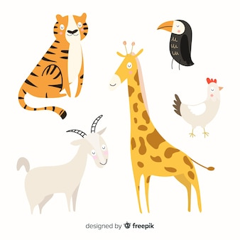 Pack d'animaux colorés dessinés à la main