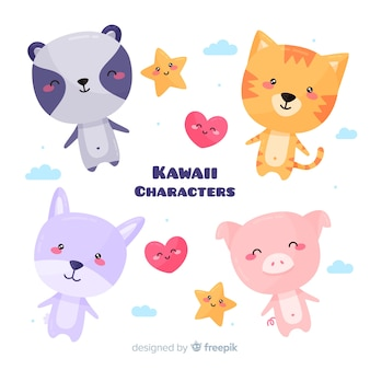 Pack d'animaux kawaii dessinés à la main