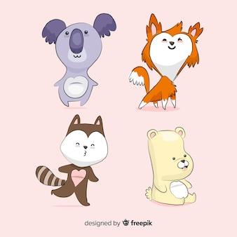 Pack d'animaux kawaii dessinés à la main