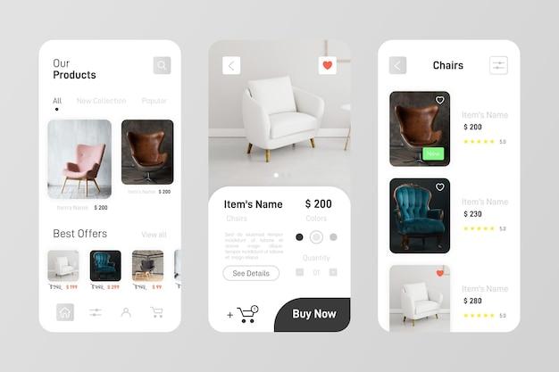 Pack d'applications d'achat de meubles