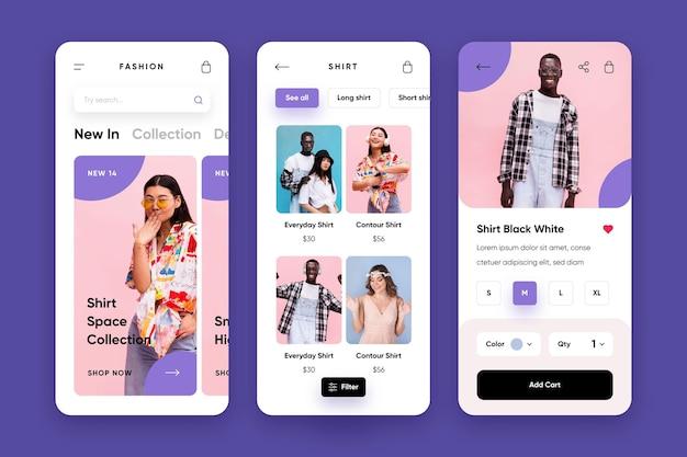 Pack d'applications de shopping de mode