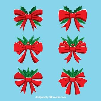 Pack d'arcs rouges dessinés à la main