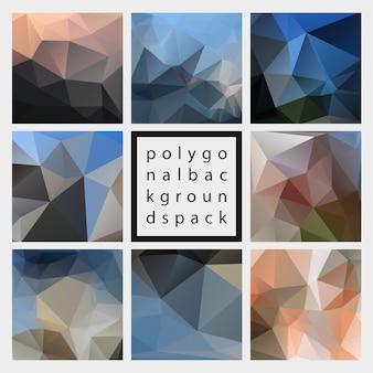 Pack d'arrière-plans texturés polygonaux vecteur tendance abstraite