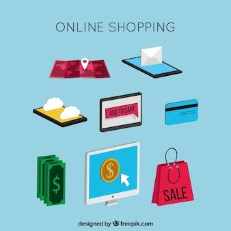 Pack d'articles à acheter en ligne en style isométrique