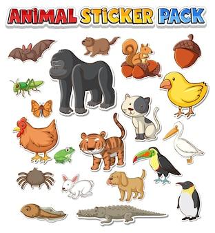 Pack d'autocollants d'animaux sauvages mignons isolé