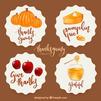 Pack d'autocollants aquarelles pour thanksgiving