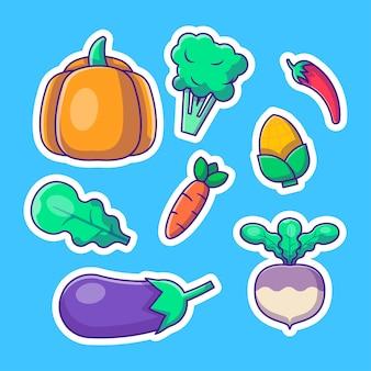 Pack d'autocollants collections de légumes illustrations de dessins animés