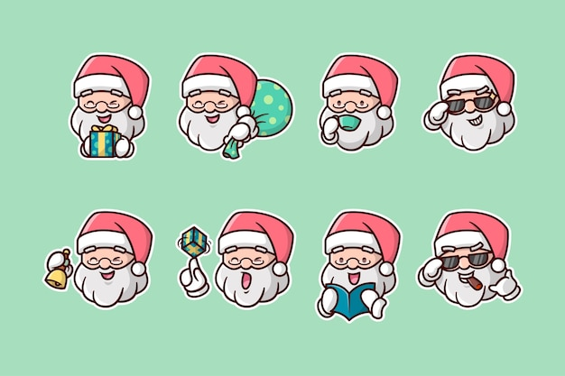 Pack d'autocollants divers santa head expression