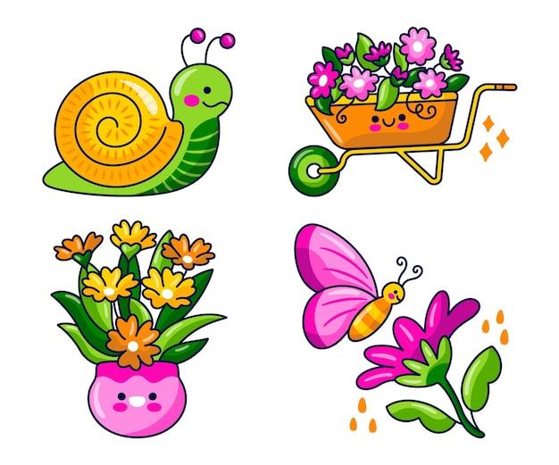 Pack d'autocollants de printemps kawaii