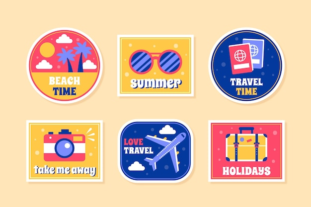 Pack d'autocollants voyage / vacances dans le style des années 70