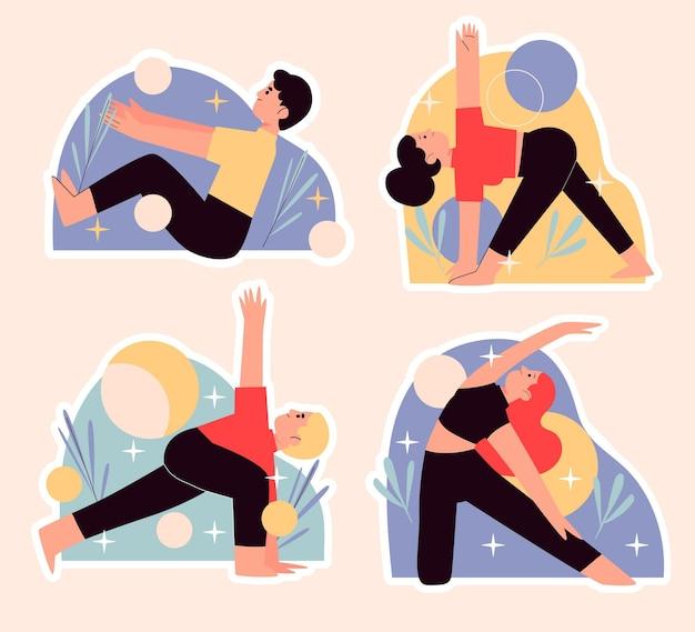 Pack d'autocollants de yoga naïf