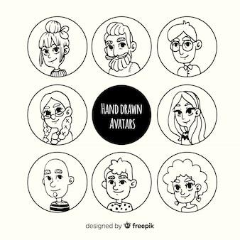 Pack d'avatar dessin animé sans couleur