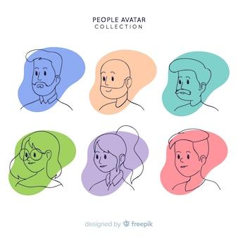 Pack avatar de personnes dessinées à la main