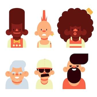 Pack d'avatars de différentes personnes