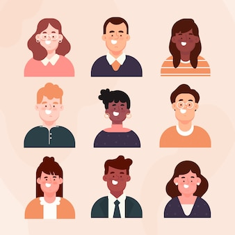 Pack d'avatars de personnes design plat