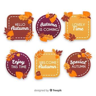 Pack de badges d'automne plats