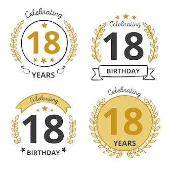 Pack de badges dix-huitième anniversaire