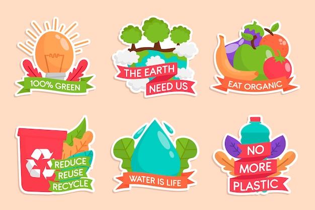 Pack de badges d'écologie dessinés à la main