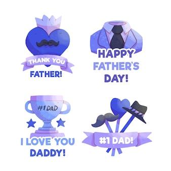Pack de badges de fête des pères dessinés à la main