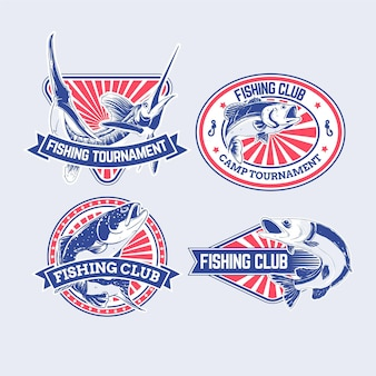 Pack de badges de pêche rétro