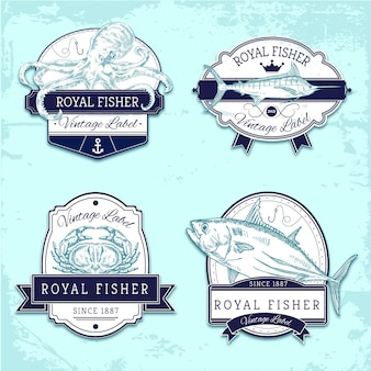 Pack de badges de pêche vintage