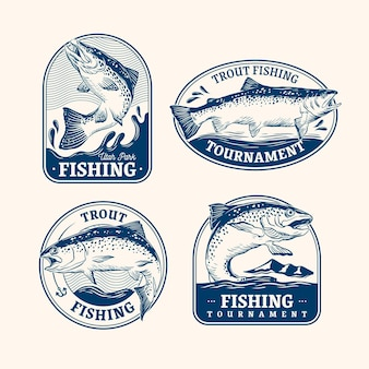 Pack de badges de pêche vintage
