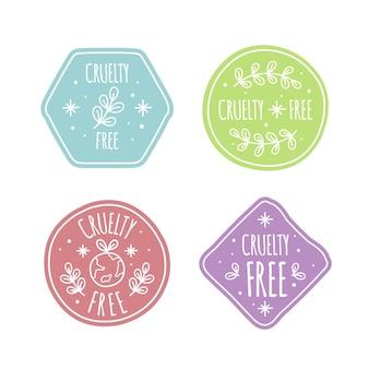 Pack de badges sans cruauté dessinés à la main