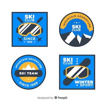 Pack badges de ski à plat