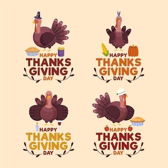 Pack de badges de thanksgiving design plat