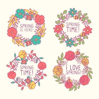 Pack de badges avec thème printemps