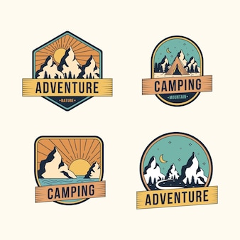 Pack de badges vintage camping & adventures