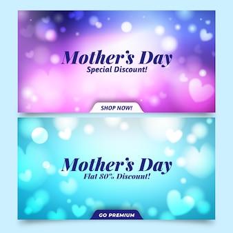 Pack de bannière de fête des mères floue
