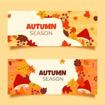 Pack de bannières automne dessinés à la main
