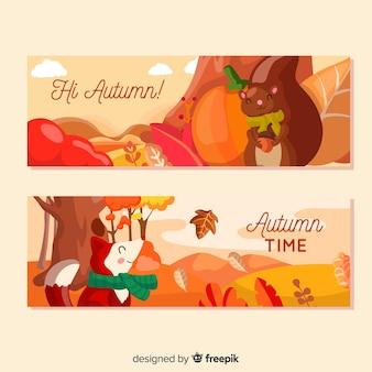 Pack de bannières d'automne plat