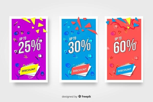 Pack de bannières colorées de vente dans le style de memphis