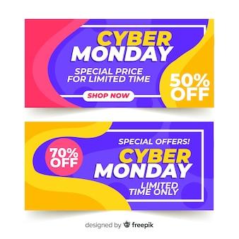 Pack de bannières cyber lundi design plat