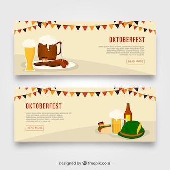 Pack de bannières avec des éléments traditionnels les plus oktoberfest