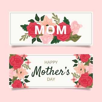 Pack de bannières de fête des mères dessinés à la main