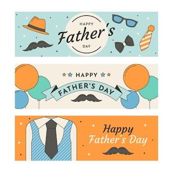 Pack de bannières de fête des pères design plat
