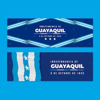 Pack de bannières indépendantes réalistes de guayaquil
