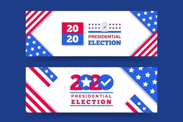 Pack de bannières pour l'élection présidentielle 2020 aux états-unis