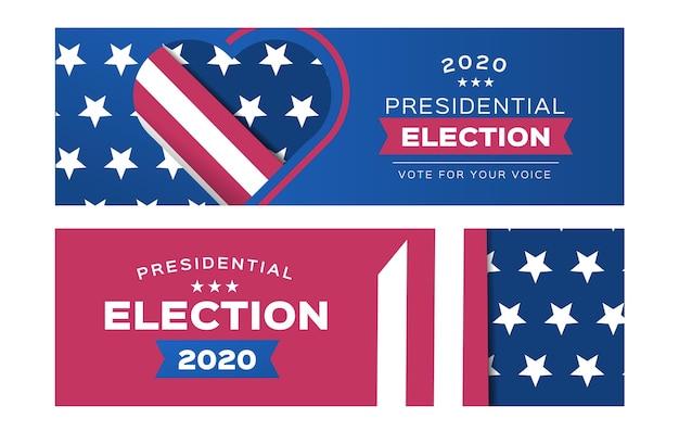 Pack de bannières pour l'élection présidentielle américaine 2020