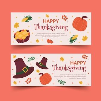 Pack de bannières pour thanksgiving design plat