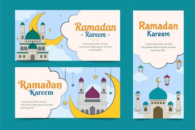 Pack de bannières de ramadan dessinés à la main