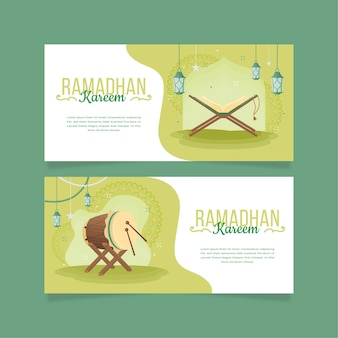 Pack de bannières ramadan horizontales design plat