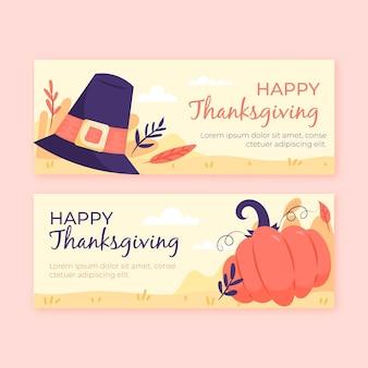 Pack de bannières de thanksgiving dessinés à la main